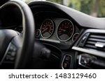 Red Speedometer In The Dark Ca...