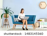 young woman in black skirt and...   Shutterstock . vector #1483145360