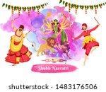 illustration of couple dancing... | Shutterstock .eps vector #1483176506
