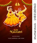 shubh navratri festival... | Shutterstock .eps vector #1483180463