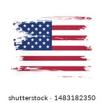 american flag made in a brush... | Shutterstock .eps vector #1483182350