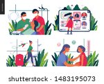 set of medical insurance... | Shutterstock .eps vector #1483195073