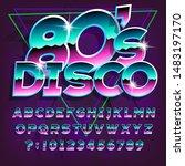 80s disco alphabet font.... | Shutterstock .eps vector #1483197170