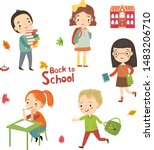 children back to school. girls... | Shutterstock .eps vector #1483206710