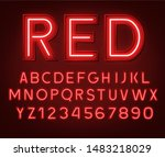 neon glowing red 3d letters and ... | Shutterstock .eps vector #1483218029
