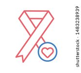 red ribbon line color icon....