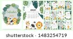 doodle animal calendar set 2020 ... | Shutterstock .eps vector #1483254719