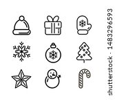 christmas icons set vector...