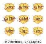 various music label set   Shutterstock .eps vector #148330460