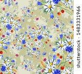 watercolor seamless hand drawn... | Shutterstock . vector #1483331966