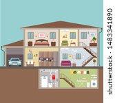 house in cut. interior. vector... | Shutterstock .eps vector #1483341890