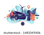 electric car charging at... | Shutterstock .eps vector #1483345406