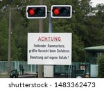 """Small photo of 08/19/2019 - Germany-NRW-Muelheim. Details of the sluice in the center of Muelheim. Forbidden to enter it now. Sign saying """"Missing ramming protection. Extreme caution when entering. Use"""