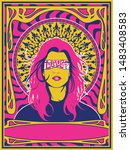 psychedelic art poster young... | Shutterstock .eps vector #1483408583