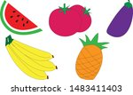 fruits icon set collection.... | Shutterstock .eps vector #1483411403
