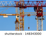 Tower Cranes Closeup With Jibs...