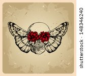 Skull With Flowers And A Moth...