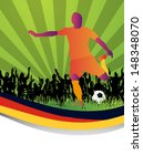 soccer player with custom flag... | Shutterstock .eps vector #148348070