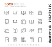 collection of books line icons. ... | Shutterstock .eps vector #1483496810