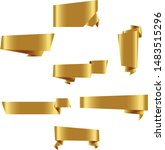 gold origami ribbon set... | Shutterstock .eps vector #1483515296