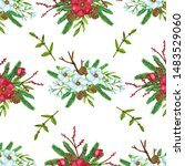 seamless pattern with christmas ... | Shutterstock . vector #1483529060