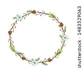 watercolor christmas round... | Shutterstock . vector #1483529063
