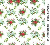 seamless pattern with christmas ... | Shutterstock . vector #1483529069
