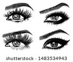 set with woman's eyes ... | Shutterstock .eps vector #1483534943
