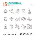 achieving goal icon set. line... | Shutterstock .eps vector #1483538693