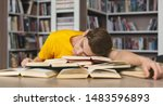 sleeping at library. tired...   Shutterstock . vector #1483596893