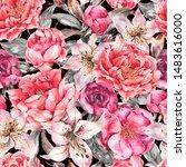 vintage watercolor seamless... | Shutterstock . vector #1483616000