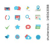 web icon set   flat style | Shutterstock .eps vector #148363088