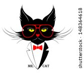Black Cat In Red Glasses With...