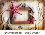 frame with few marine items on... | Shutterstock . vector #148369364