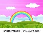 beautiful rainbow sky with... | Shutterstock .eps vector #1483695506