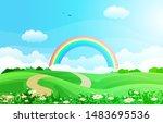 beautiful rainbow sky with... | Shutterstock .eps vector #1483695536