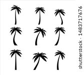 palms tree icons on white... | Shutterstock .eps vector #1483717676