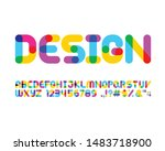 colorful overlapping font set...   Shutterstock .eps vector #1483718900