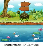 illustration of a turtle near... | Shutterstock .eps vector #148374908