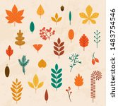 autumn leaves set. flat design... | Shutterstock .eps vector #1483754546