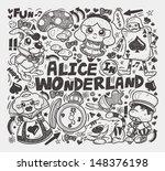 doodle alice in wonderland... | Shutterstock .eps vector #148376198