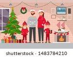 family christmas celebration at ... | Shutterstock .eps vector #1483784210
