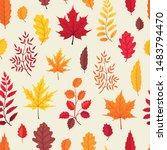colorful autumn leaves tiled... | Shutterstock .eps vector #1483794470