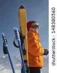 happy woman in winter jacket... | Shutterstock . vector #148380560