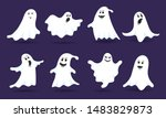 8 cute ghost characters flat... | Shutterstock .eps vector #1483829873
