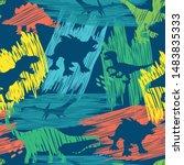 seamless  bright dino pattern ... | Shutterstock .eps vector #1483835333