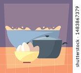 pot preparation cooking flat... | Shutterstock .eps vector #1483867379