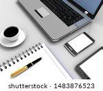 3d workplace business concept....   Shutterstock . vector #1483876523