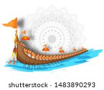 aranmula boat race illustration ... | Shutterstock .eps vector #1483890293