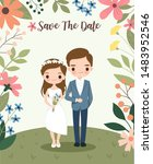 cute bride and groom on flower... | Shutterstock .eps vector #1483952546
